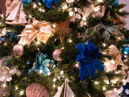 Close Up Detail Of The Blue Ocean Themed Christmas Tree