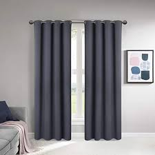scm vorhang blickdicht ösen gardinen ösenschal gardine schlafzimmer dekoschals wohnzimmer grau 2er set je 245x135cm