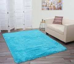 teppich hwc f69 shaggy läufer hochflor langflor stoff textil flauschig weich 230x160cm türkis