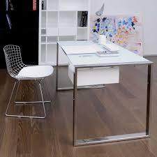 Small Glass And Metal Computer Desk by White Modern Desk Bdi Centro White Gray Desk Return
