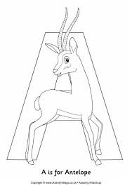 A Is For Antelope Colouring Page