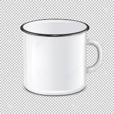 Vector Realistic Enamel Metal White Mug Isolated On Transparent
