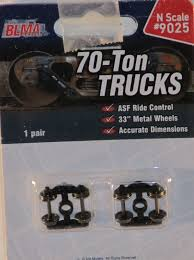 98 N Scale Trucks BLMA 70 Ton ASF Ride Control 1Pr W 33 Metal Wheels