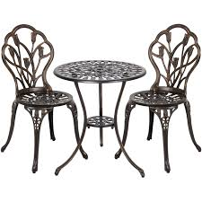 BestChoiceProducts: Best Choice Products 3-Piece Cast Aluminum Patio Bistro  Furniture Set W/ Antique Copper Finish | Rakuten.com Americana Wicker Bistro Table And Chairs Set Plowhearth Royalcraft Cannes Brown Rattan 3pc 2 Seater Cube Breakfast Ceylon Outdoor 3piece By Christopher Knight Home Hampton Bay Aria 3piece Balcony Patio Sirio Valentine Swivel Ellie 3 Piece Folding Fniture W Round In Dark Outdoor Cast Alinium Rattan Ding Sets Georgina With Cushions Wilko Effect