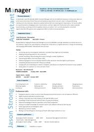 Resturant Manager Resume Restaurant Assistant Templates Example Job