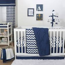 The Peanut Shell 3 Piece Baby Crib Bedding Set Navy Blue Pintuck