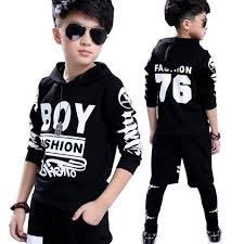 New 2018 Fashion Kids Boys Clothes Set Spring Children Clothing 2PCs Black T Shirt