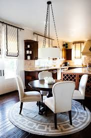 Kitchen Curtain Ideas Traditional With Chandelier Black And White Roman Shades