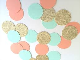 Coral Color Decorations For Wedding by Coral Gold Turquoise Glitter Confetti Circle Confetti For