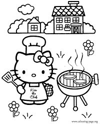 Hello Kitty Is Cooking A Barbecue Coloring Page