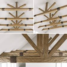 100 Wooden Ceiling Ceiling Beams For Barn 3D Model