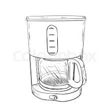 Vector Sketch Of Electric Coffee Maker Hand Draw Illustration
