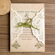 Rustic Lace Pocket Green Ribbon Wedding Invitations EWLS005 As Low 179