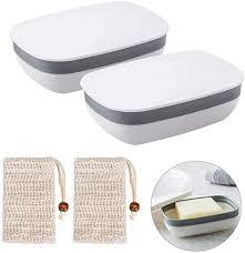 queta seifendose 2 stück seifenschalen box mit abdeckung and 2 stück seifensäckchen sisal für badezimmer reise weiß