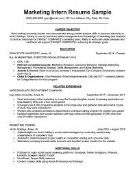 Marketing Intern Resume Sample Download