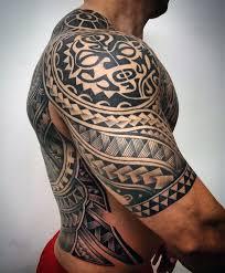Unique Hawaiian Male Tribal Tattoos Half Sleeve