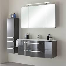 badezimmer midischrank fes 4005 66 in hochglanz lack steingrau bogengriffe chrom glänzend b h t 30 121 33cm