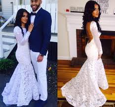 white couples fashion mermaid prom dresses 2016 lace long