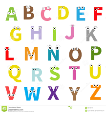 Alphabet English Abc Letters With Face Eyes Education Cards For