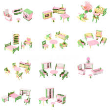 Lot 15 Set Wooden Dollhouse Miniature Furniture Puzzle Model
