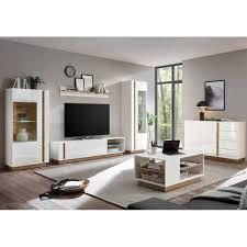 lomadox wohnwand celle 61 4 tlg wohnzimmer in hochglanz weiß mit wotaneiche mit sideboard und couchtisch b h t ca 340 194 40 cm kaufen