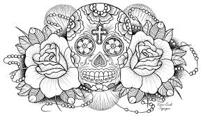 Sugar Skulls And Roses Coloring Pages 02