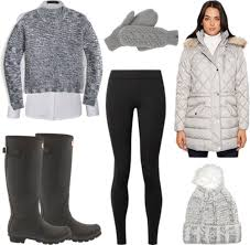 Winter Outfit With Black Leggings Hunter Boots Gray Parka Sweater Over