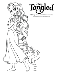 Tangled Colouring Pages Black White
