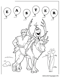 Frozen Sven Olaf And Kristoff Easter Colouring Page Coloring Pages