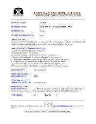 Preschool Teacher Assistant Job Description Resume New Examples Google Search Of 19
