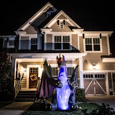 Halloween Blow Up Yard Decorations Canada by Shop Holiday Living 8 Ft X 8 Ft Animatronic Lighted Dragon