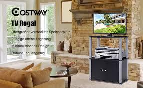 costway fernsehtisch tv möbel regal tisch schrank fernsehschrank sideboard für schlafzimmer wohnzimmer schwarz