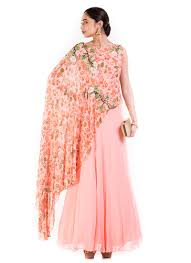 buy blush pink georgette one shoulder cape gown dresses and gown