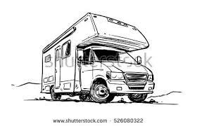 Stock Vector Camper Van Black And White Illustration