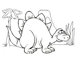 Coloring Page Cute Stegosaurus Cartoon Dinosaur