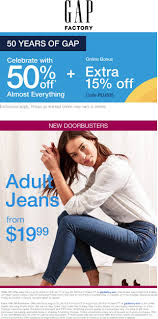 Gap Factory Coupons - 50% Off At Gap Factory, Or 65% Off ... Gap Factory Coupons 55 Off Everything At Or Outlet Store Coupon 2019 Up To 85 Off Womens Apparel Home Bana Republic Stuarts Ldon Discount Code Pc Plus Points Promo 80 Toddler Clearance Southern Savers Please Verify That You Are Human 50 15 Party Direct Advanced Personal Care Solutions Bytox Acer The Krazy Coupon Lady