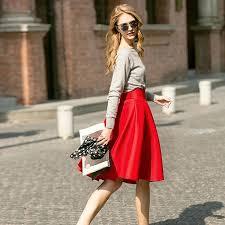 Brand Designer Street Fashion Women Red Black Plus Size High Waist Skirt Ladies Solid Color