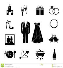 Set Of Black Silhouette Wedding Icons Illustration 42703222