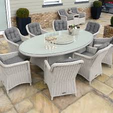 Kensington Deluxe 230x135cm Oval Table With 8 Henley Dining Armchairs Pebble