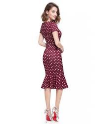 vintage mermaid polka dots round neck dress with short sleeves