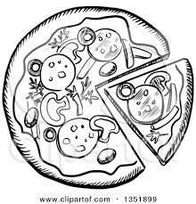 Clipart of a Black and White Sketched Pizza Pie Royalty Free