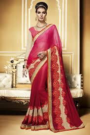 red metal chiffon designer party wear saree with dhupian blouse