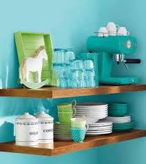 Floating Wooden Shelves For Organizing Decorative Dishware Collections And Containers Turquoise Color Paint Wall