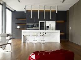 modern minimalist kitchen with island bar and modern cascading