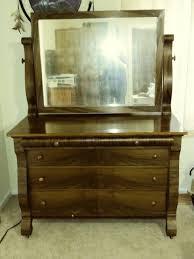 Tiger Oak Serpentine Dresser by Mirror My Antique Furniture Collection