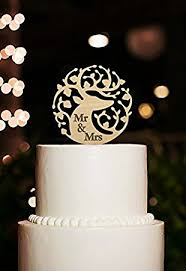 Mr Mrs Wedding Cake Topper Rustic Nature Wood Personalized Deer