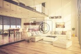 fototapete minimalistisch modern eingerichtetes loft mit wohnzimmer küche