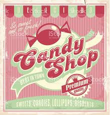 vintage poster template for candy shop stock vector art 188047115