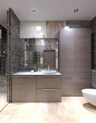 hellbraune möbel in seltsamem badezimmer mit hoher decke mit