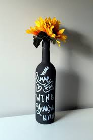 Gone With The Wind Curtain Dress Quote by Chalkboard Wine Bottle Flower Vase Quote Love The Wine